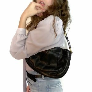 Coach Black Pebbled Leather Gold Accent Mini Bag
